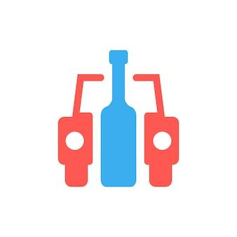 Auto en fles als dronken bestuurderbord. concept van plakkaat, drinker, slechte gewoonte, menselijke problemen, dronken. geïsoleerd op een witte achtergrond. vlakke stijl trend moderne logo ontwerp vectorillustratie