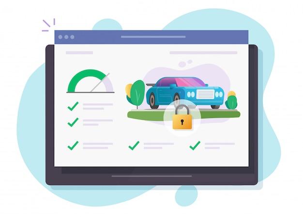 Auto en voertuig bewaking veiligheidsslot controleren software online systeem op computerapparaat