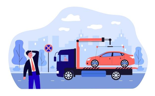 Auto-evacuatie als gevolg van overtreding van parkeerregels door zakenman. verwarde eigenaar, sleepwagen platte vectorillustratie. autoservice, transportconcept voor banner, websiteontwerp of bestemmingswebpagina