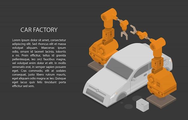 Auto fabriek concept banner, isometrische stijl