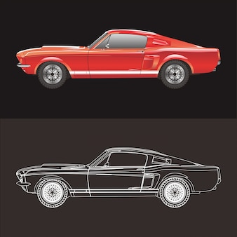 Auto ford mustang illustratie