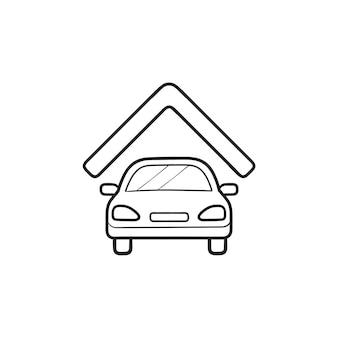 Auto garage hand getrokken schets doodle pictogram. auto onder dak, geparkeerde auto, huis of huis garage concept