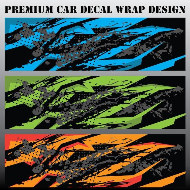 Auto grafisch ontwerpconcept grafische abstracte grunge-streepontwerpen voor verpakking