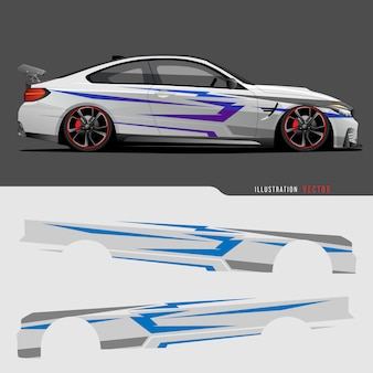 Auto grafische vector. abstracte lijnen met grijze achtergrond ontwerp voor voertuig vinyl wrap