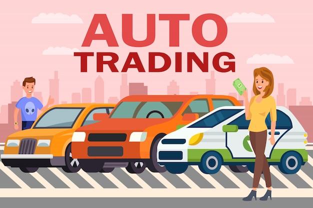 Auto handel bedrijfs vlakke kleurenillustratie Premium Vector
