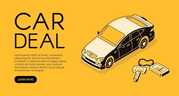 Auto handel deal illustratie van automotive verkopen en kopen service-agentschap of dealer bedrijf.