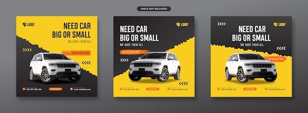 Auto huren voor post- en webbannersetsjabloon voor sociale media