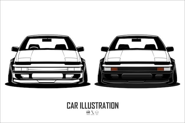 Auto-illustratie met een witte achtergrond