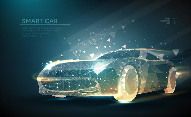Auto in in futuristische veelhoekige stijl