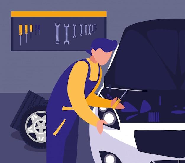 Auto in onderhoudsworkshop met het mechanische werken