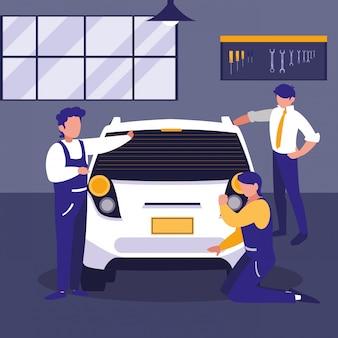 Auto in onderhoudsworkshop met werktuigkundigteam