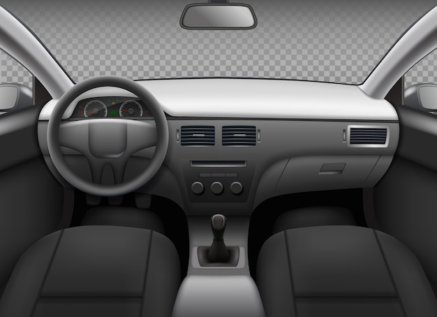 Auto-interieur. auto realistische salon info paneel dashboard snelheidsmeter lederen stoel spiegel achteraanzicht vector sjabloon. illustratie auto-interieur, auto auto paneel