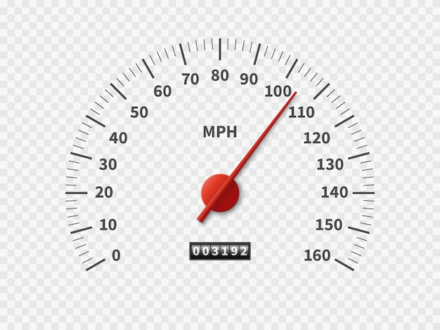 Auto kilometerteller snelheid teller wijzerplaat meter rpm motor mijlen meten schaal witte motor meter concept