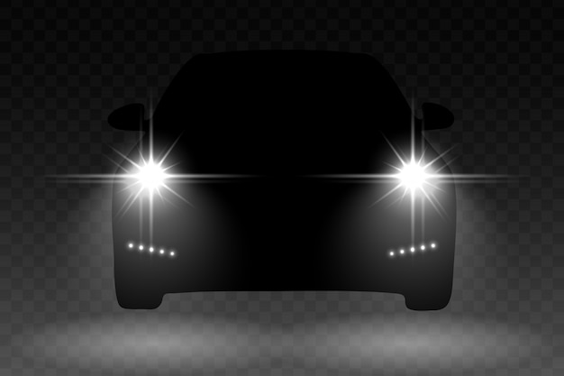 Auto lichtflitseffect met automobiel silhouet