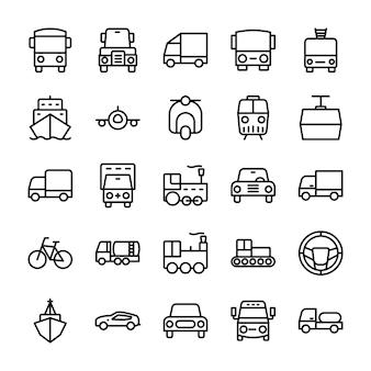 Auto lijn pictogrammen
