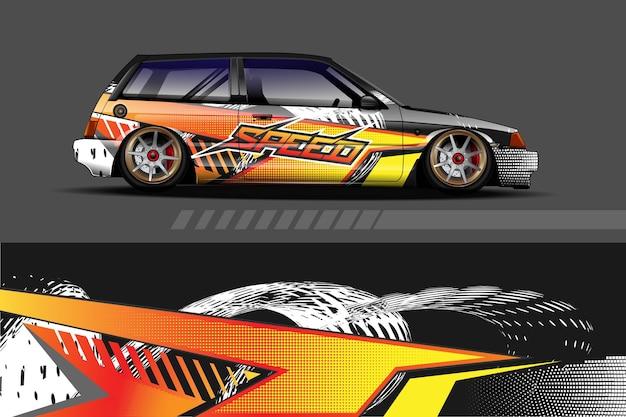 Auto livery afbeelding met abstract race-vorm ontwerp