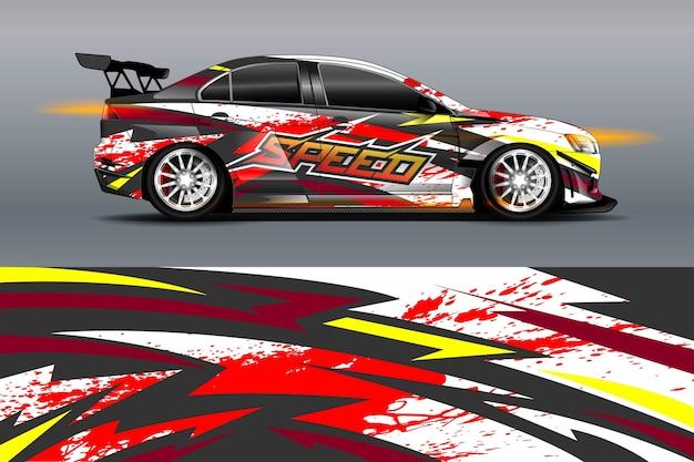 Auto livrei-ontwerp met sportieve abstracte achtergrond