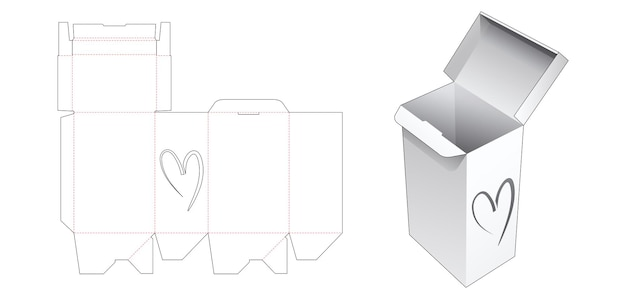 Auto lock box met hartvormig raam gestanst sjabloon