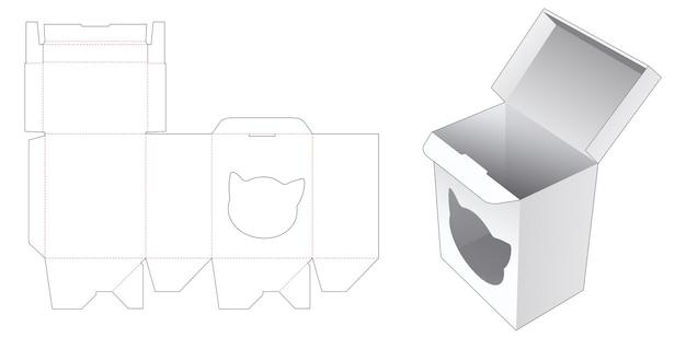 Auto lock rechthoekige doos met katvormig venster gestanst sjabloon