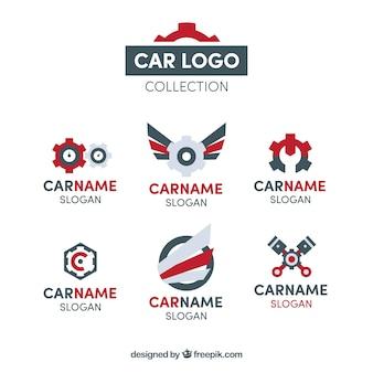 Auto logo verzameling van zes
