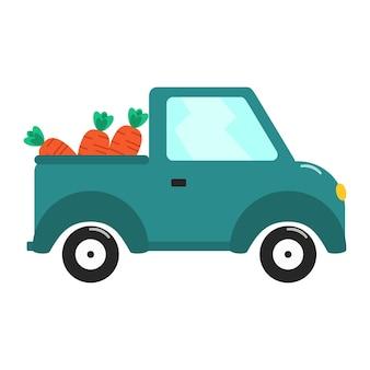 Auto met groenten voor geïsoleerde levensstijlontwerp vectorillustratie. veganistisch, boerderij, biologisch, natuurlijk. gezondheidsconcept. rustiek leven.