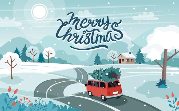 Auto met kerstboom op de weg