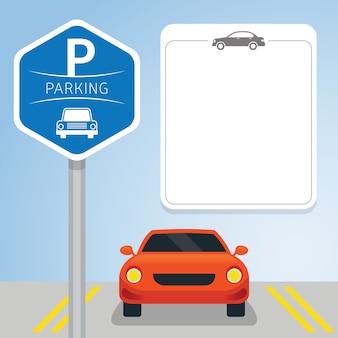Auto met parkeerbord, lege ruimte