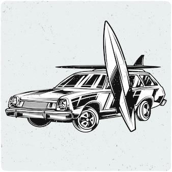Auto met surfplanken