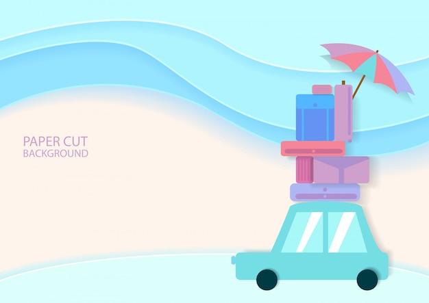 Auto met veel bagage in papiersnijstijl