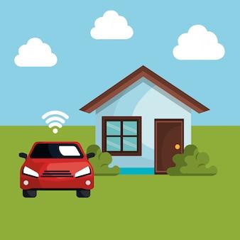 Auto met wifi-signaal en huis