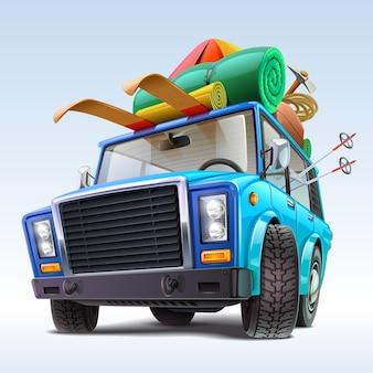 Auto met winterreisoutfit