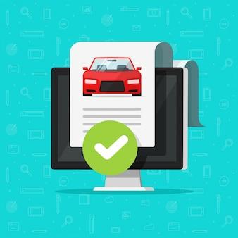 Auto of auto geschiedenis check of voertuig rapport document goedgekeurd op computer