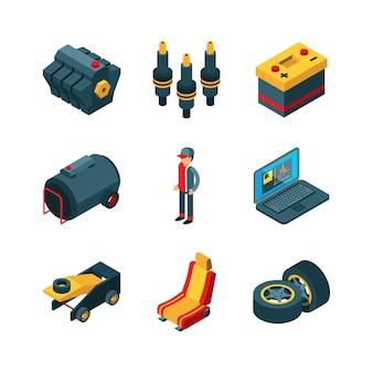 Auto onderdelen. auto winkel auto artikelen transmissie motor versnellingen wiel isometrisch