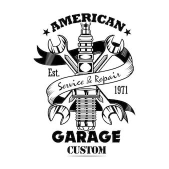 Auto-onderdelen en sleutels vector illustratie. chromen bougie, gekruiste sleutels, aangepaste garagetekst. autoservice of garageconcept voor emblemen of labelsjablonen