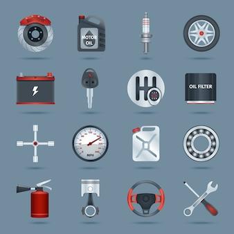 Auto onderdelen iconen