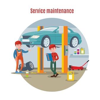 Auto onderhoud dienstverleningsconcept
