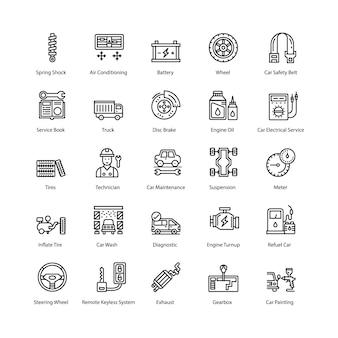Auto onderhoud pictogrammen pack