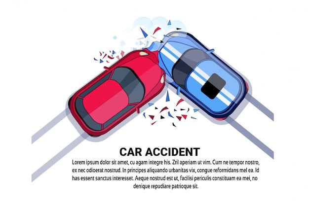 Auto-ongeluk bovenaanzicht voertuigbotsing pictogram boven wit