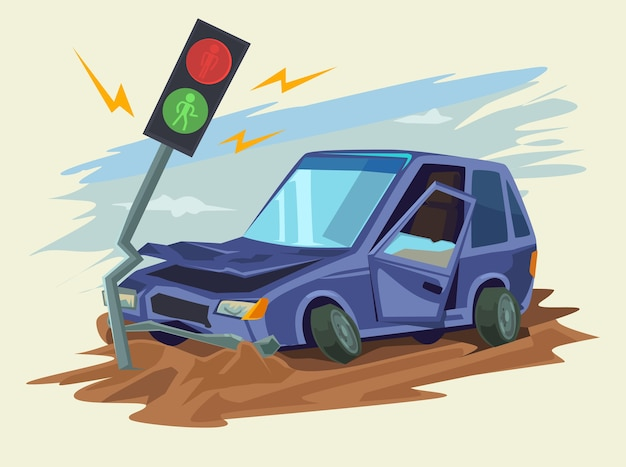 Auto-ongeluk verkeersongeval illustratie