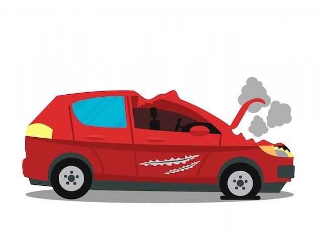 Auto-ongeluk, verkeersongeval vlakke kleur illustratie