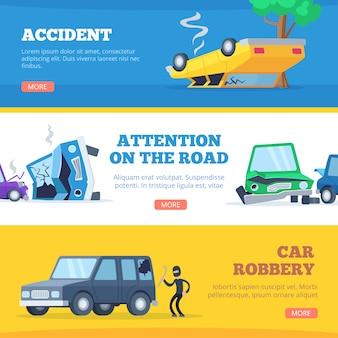 Auto ongelukken. beschadigde en kapotte autoscène van foto's van autocars voor banners