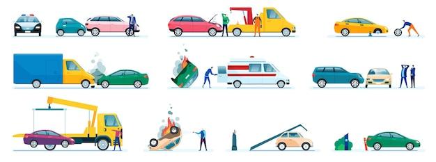 Auto-ongelukken beschadigde of gecrashte aanrijding van transportvoertuigen chauffeur belt verzekeringsmaatschappij