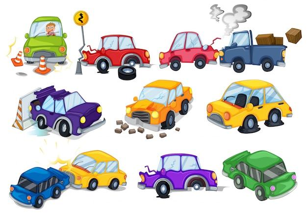 Auto ongelukken ingesteld op wit