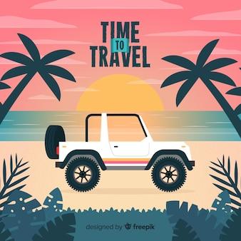 Auto op de de reisachtergrond van de strandkust
