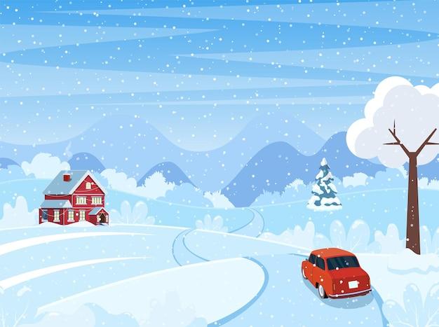 Auto op de weg. schattig winterlandschap