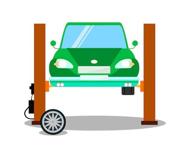 Auto op hefapparatuur illustratie