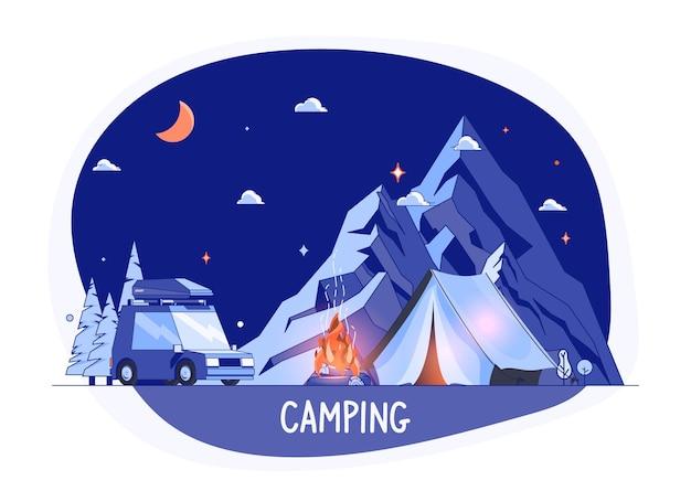 Auto op rocky mountains silhouet, nacht landschap. campingplaats met auto in plat ontwerp. zomerkampplaats met toeristentent vectorillustratie. national park area auto travel camping.