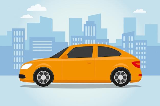 Auto op stads blauwe achtergrond