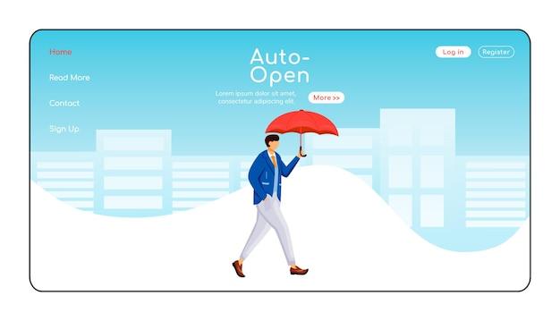 Auto open paraplu-bestemmingspagina egale kleurensjabloon. man in jas homepage-indeling. regenachtig weer één pagina website-interface, stripfiguur. lopende blanke man webbanner, webpagina