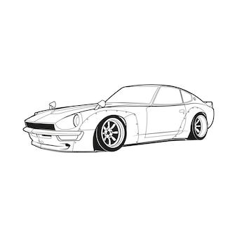 Auto overzicht lijntekeningen kleurplaat